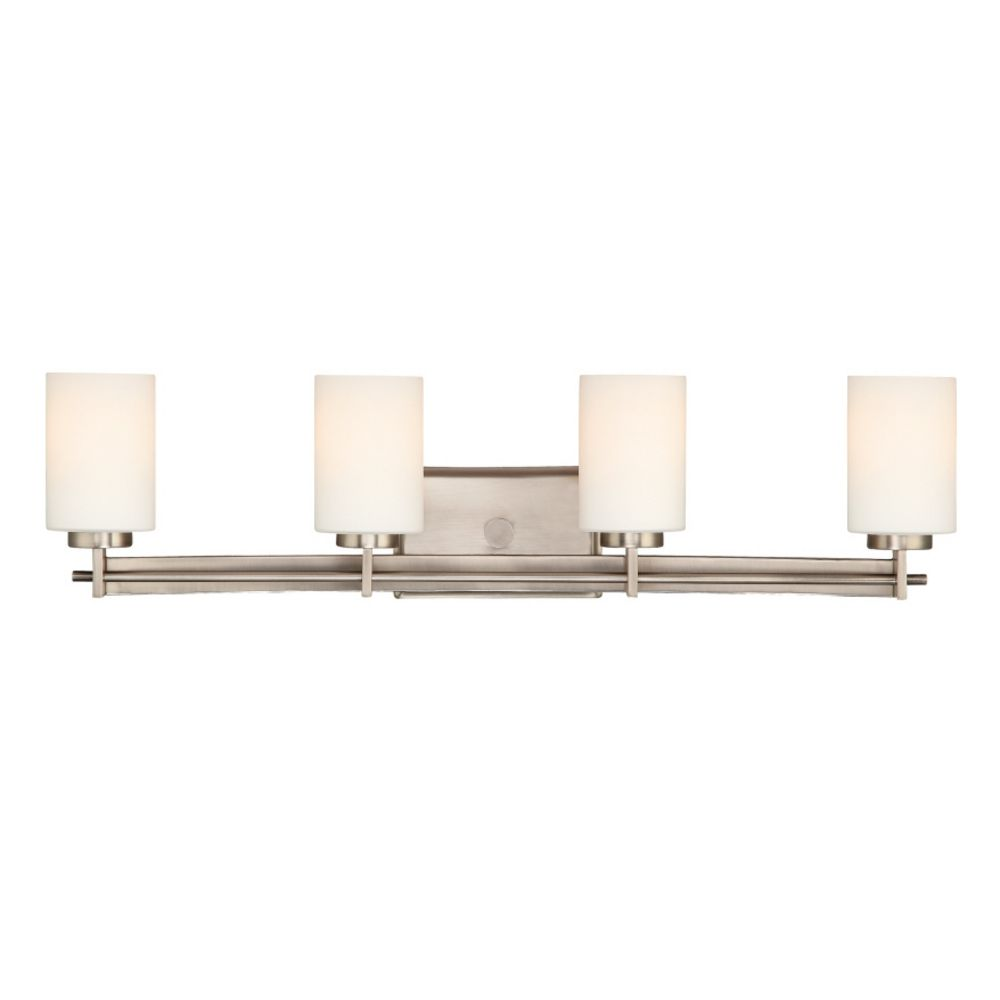 Vanity Light With Power Outlet : Four-Light Antique Nickel Vanity Light TY8604AN Destination Lighting