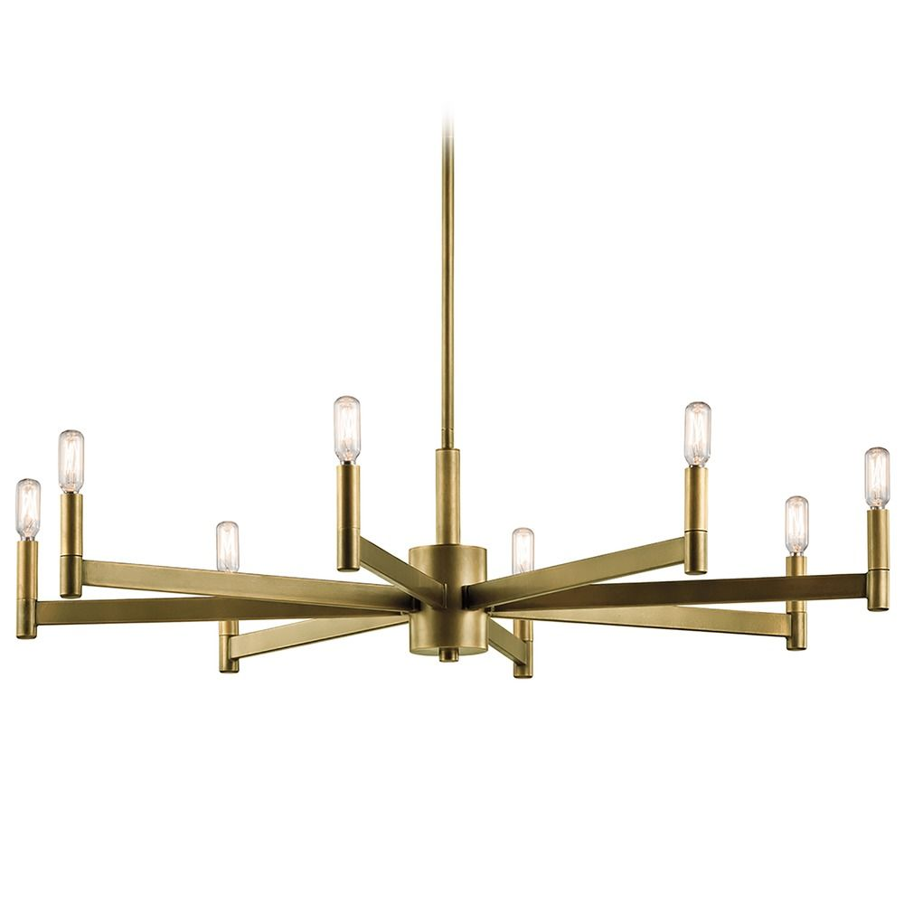Mid century modern 8 light chandelier brass erzo by kichler lighting product image aloadofball Choice Image