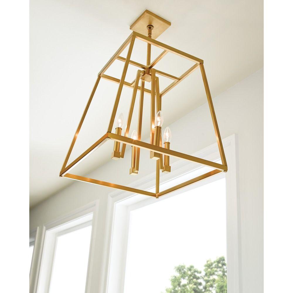 Feiss Lighting Conant Gilded Satin Br Pendant Light At Destination
