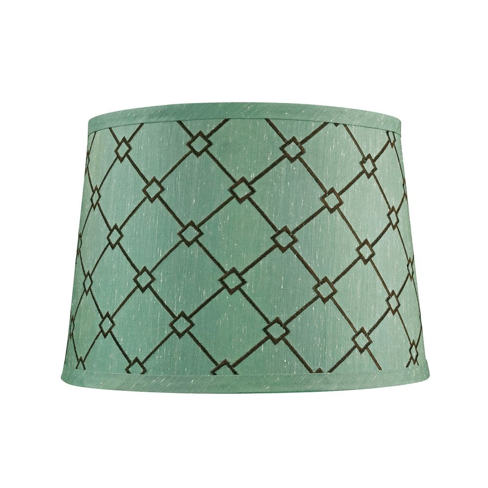 Green brown patterned drum lamp shade with spider assembly dolan designs lighting green brown patterned drum lamp shade with spider assembly 160100 aloadofball Choice Image