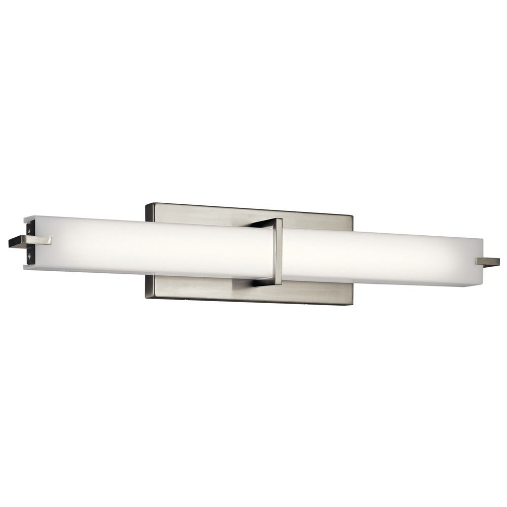 Bathroom Light Fixtures In Brushed Nickel kichler lighting brushed nickel led vertical bathroom light