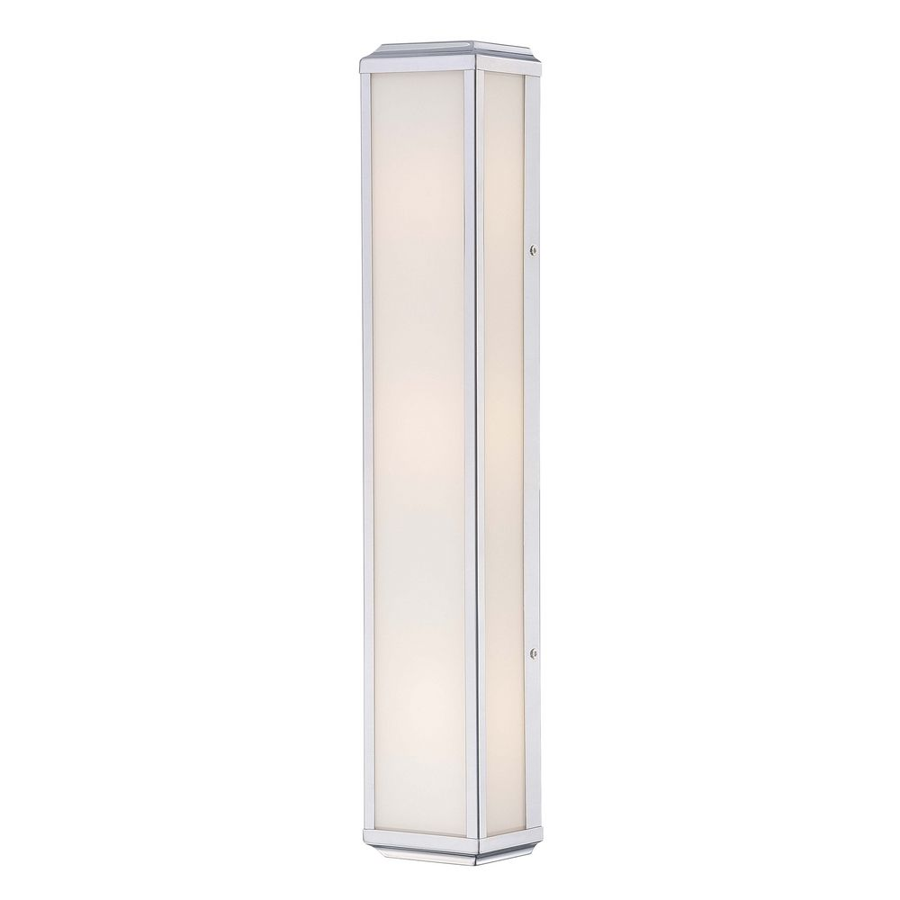 Minka Lighting Vertical Bathroom Light with White Glass in Polished