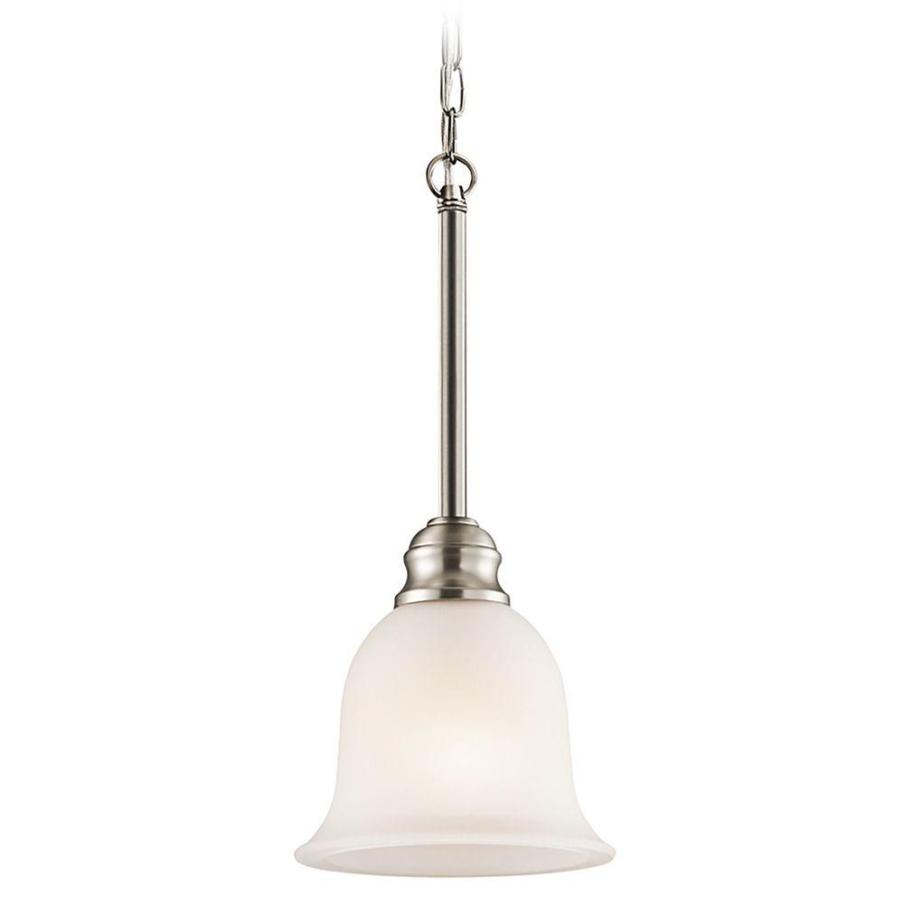 kichler mini pendant light with white glass 42901ni