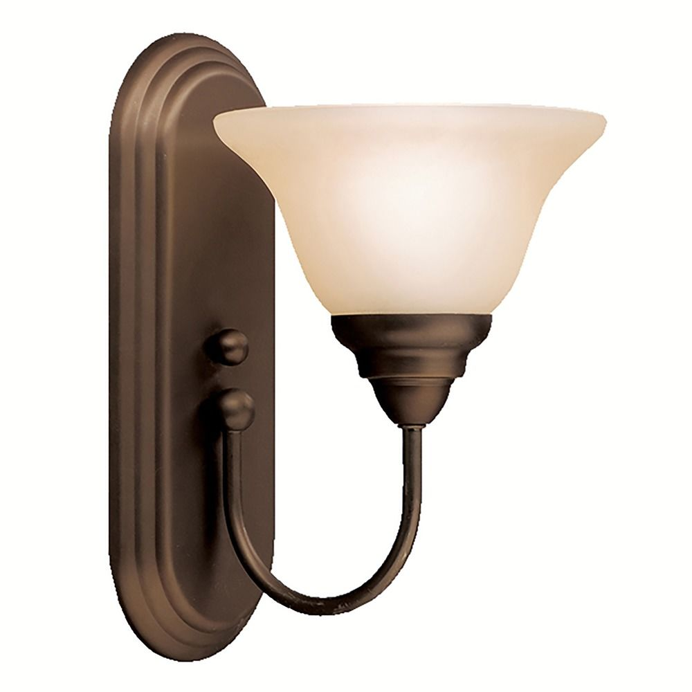 Kichler Sconce Wall Light with Alabaster Glass in Olde Bronze Finish 5991OZ Destination Lighting