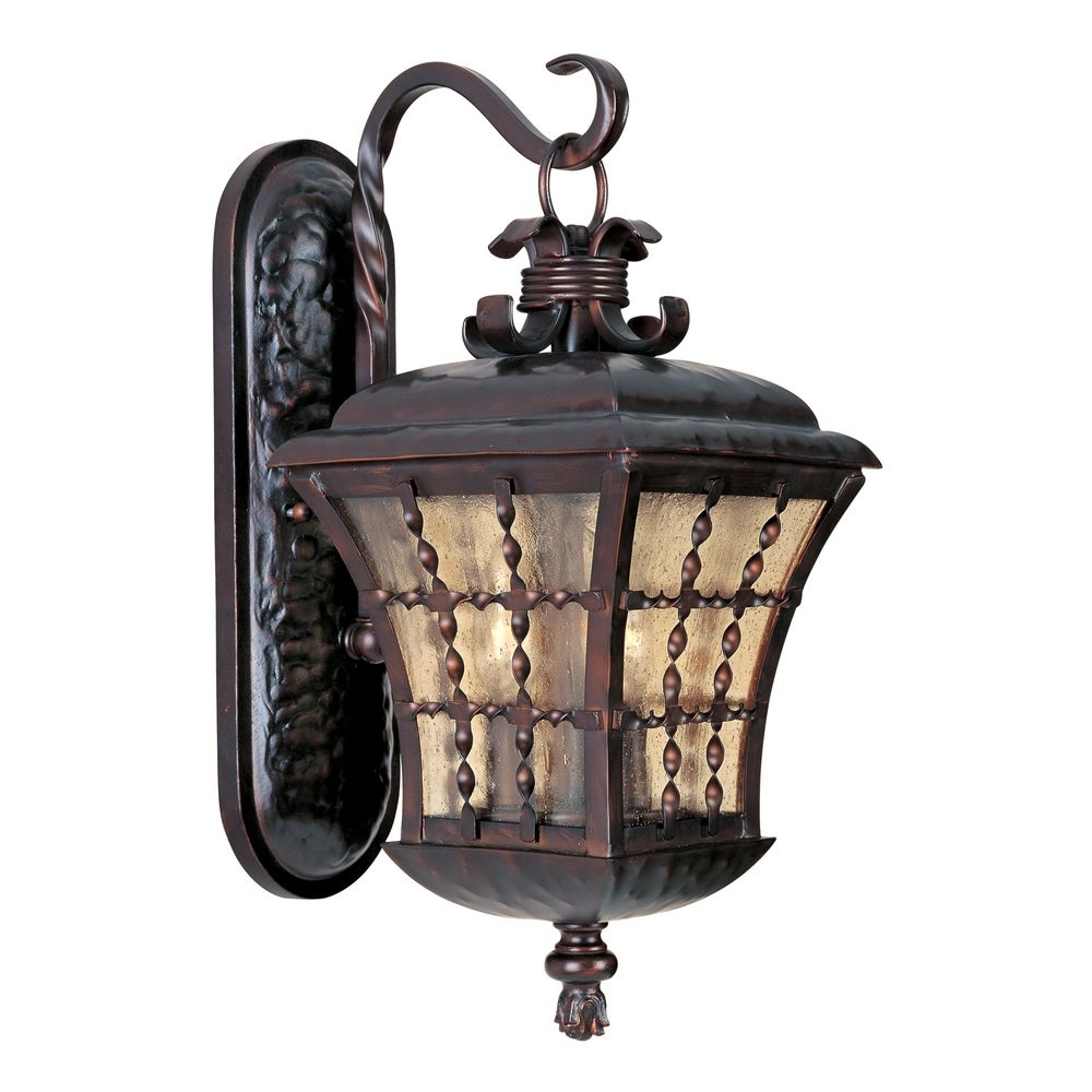 Bronze Finish Wall Lights : Outdoor Wall Light with Amber Glass in Oil Rubbed Bronze Finish 30493ASOI Destination Lighting