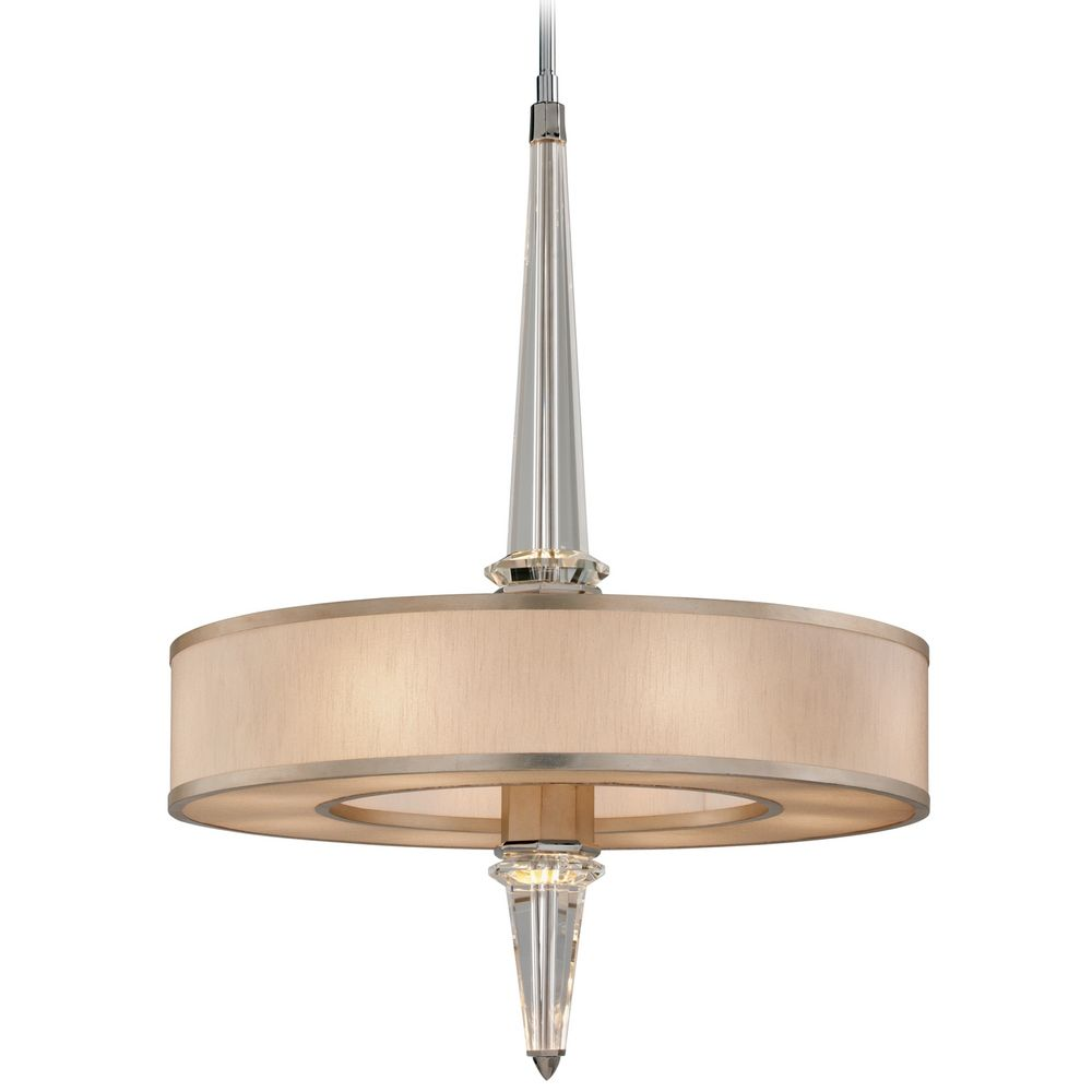 art deco crystal pendant light tranquility silver leaf harlow by corbett lighting - Led Kitchen Ceiling Lights