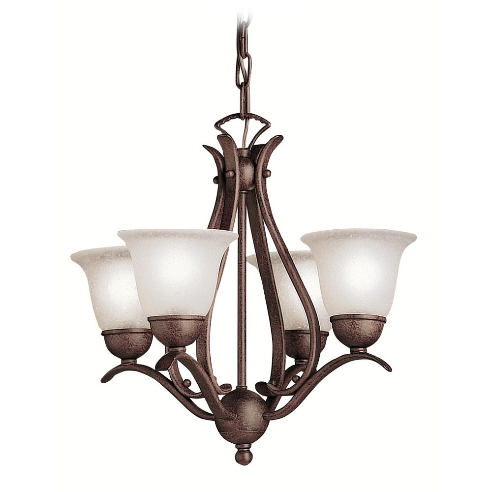 Kichner Lighting: Kichler Mini-Chandelier With White Glass In Tannery Bronze