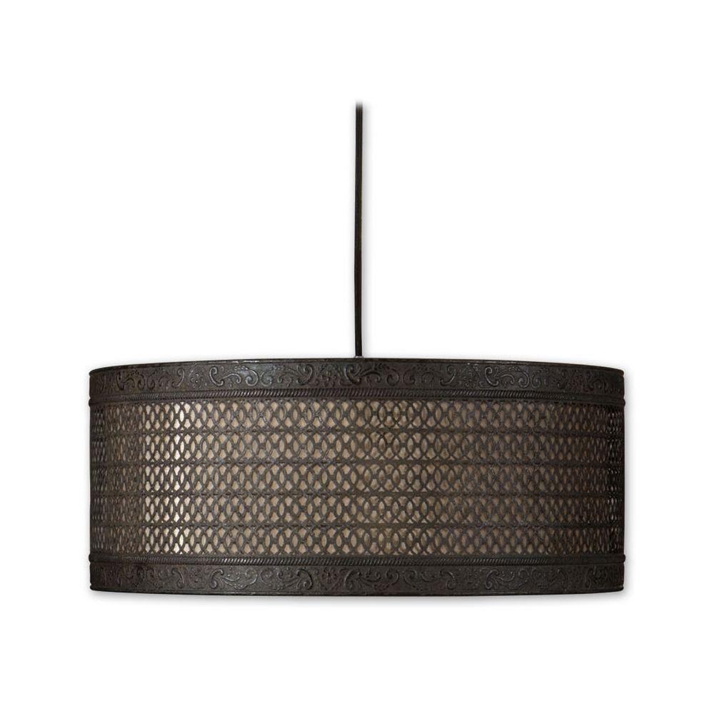 Uttermost Lighting Drum Pendant Lights In Semi Matte Black Finish 21891 Hover Or To Zoom