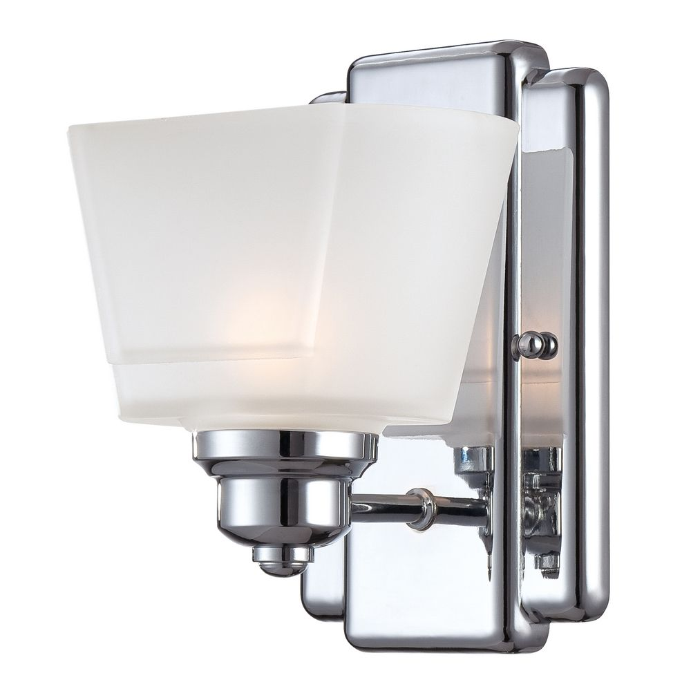 Modern Sconce Wall Light with White Glass in Chrome Finish 6671-CH Destination Lighting