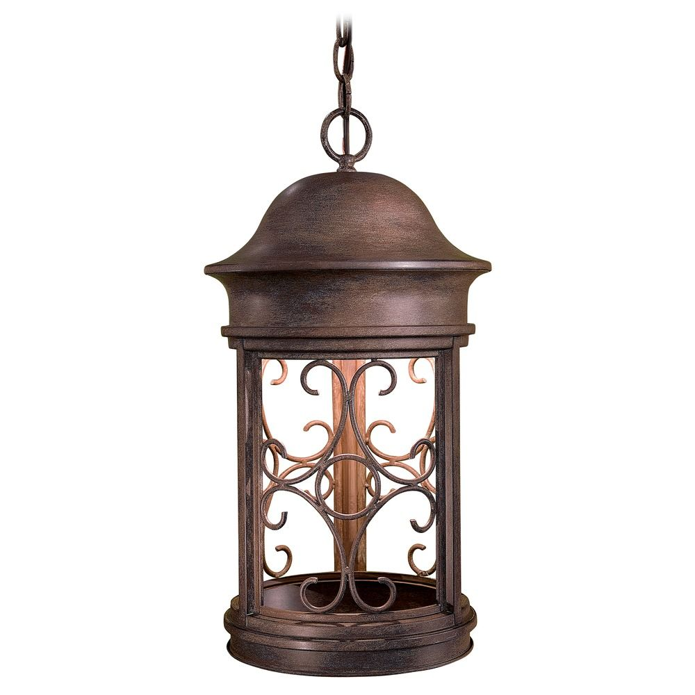 Outdoor hanging light in vintage rust finish 8284 a61 for Outdoor hanging porch lights
