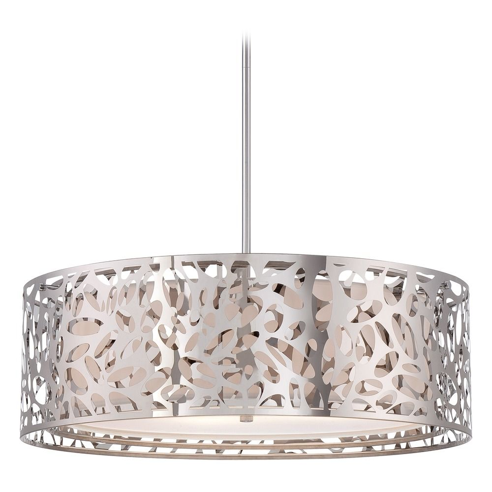Modern Drum Pendant Light With White Cage Shades In Chrome Finish P7986 077