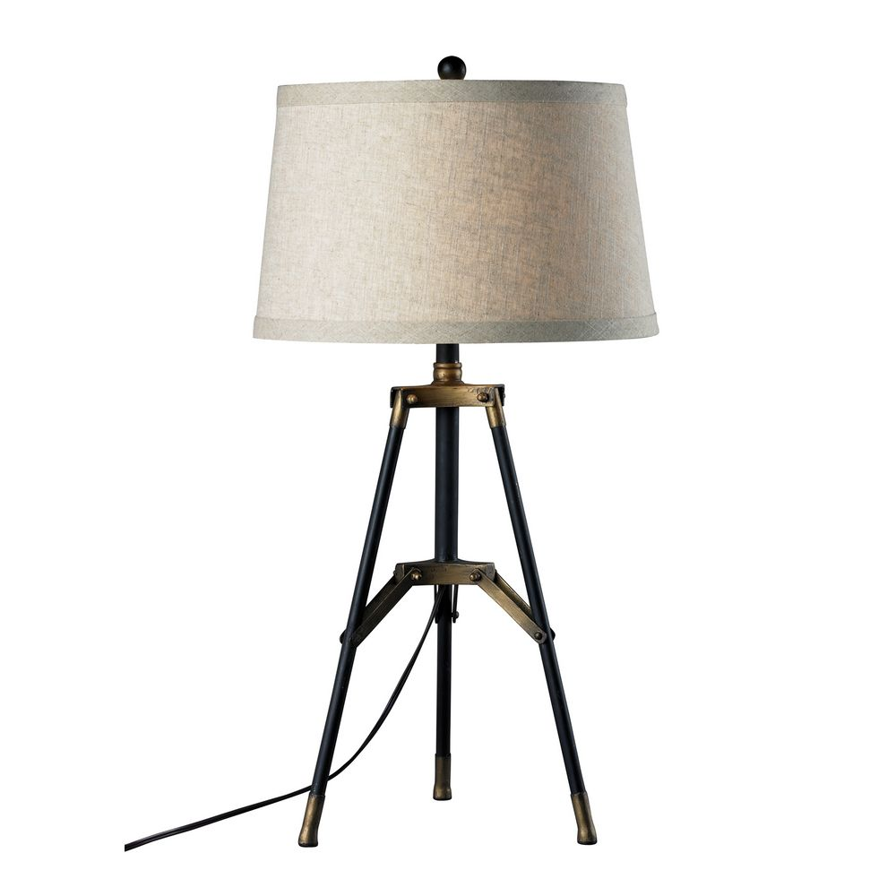tripod table lamp in black with gold accents and drum shade d309. Black Bedroom Furniture Sets. Home Design Ideas