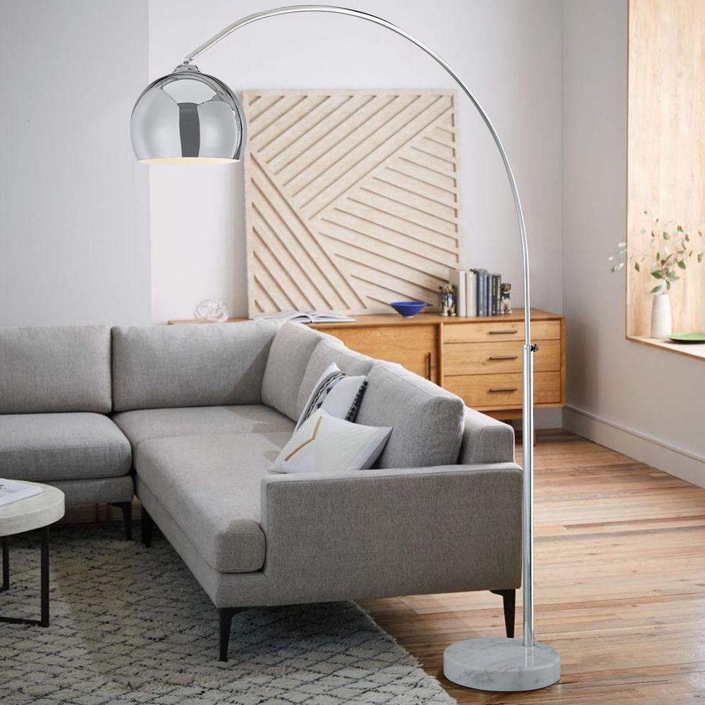 Mid Century Modern Arc Floor Lamp Chrome With Marble Base At Destination Lighting