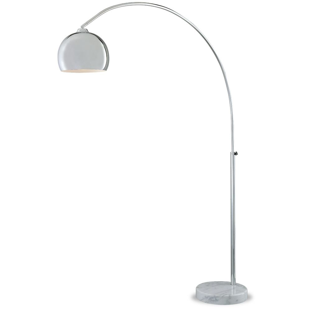 George Kovacs Lighting Mid Century Modern Arc Floor Lamp Chrome With Marble Base P053