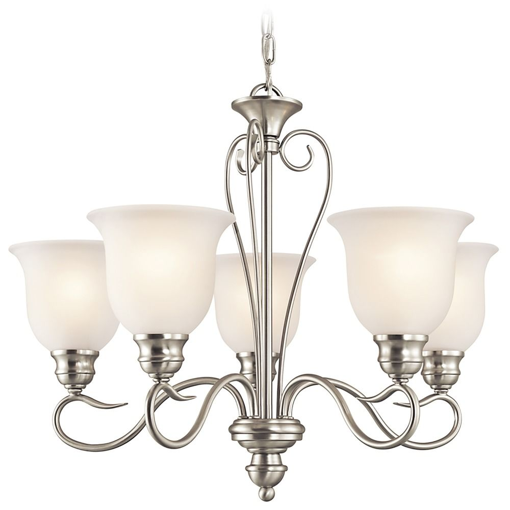 Kichler Lamps: Kichler Chandelier With White Glass In Brushed Nickel