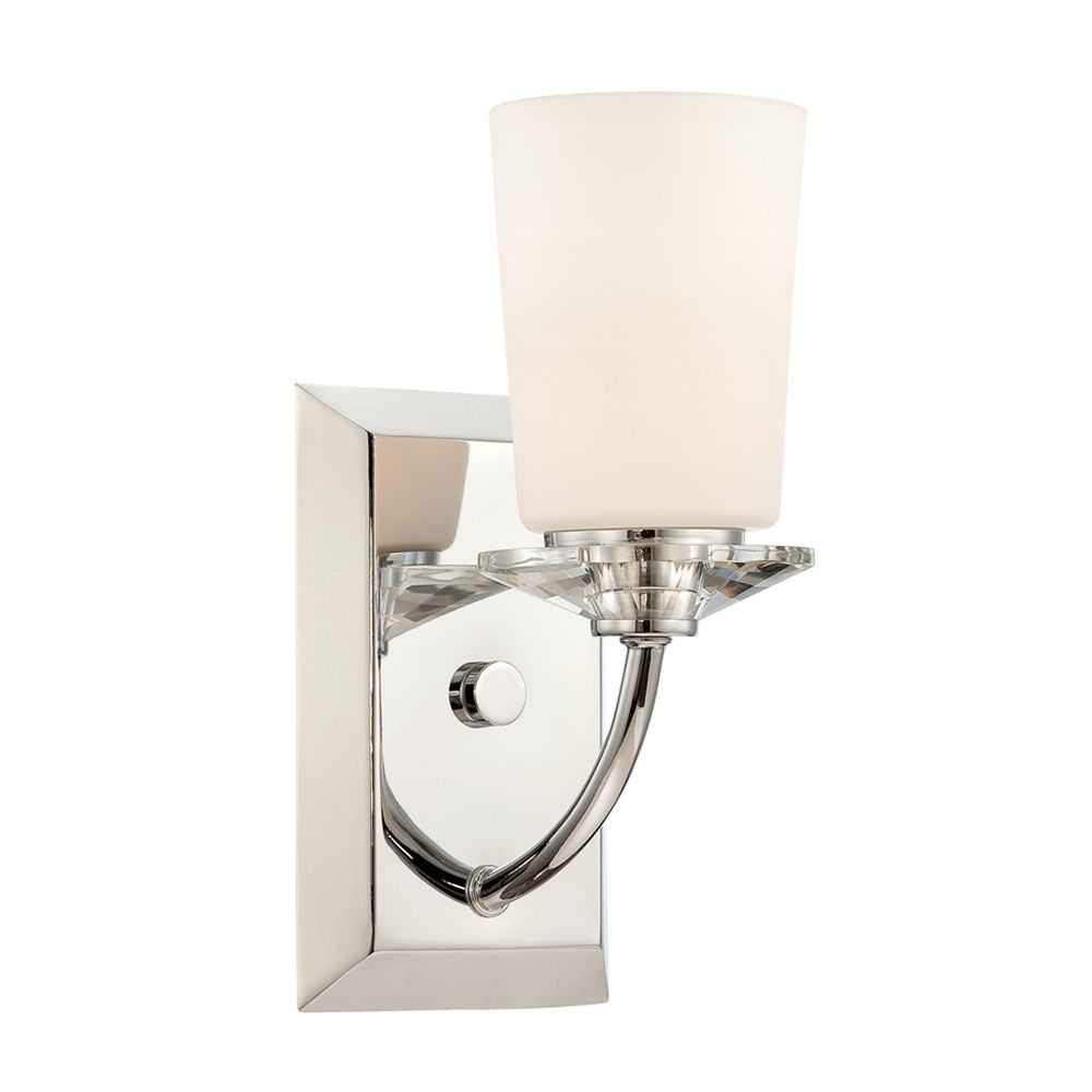Wall Sconce Chrome Finish : Sconce Wall Light with White Glass in Chrome Finish 84201-CH Destination Lighting