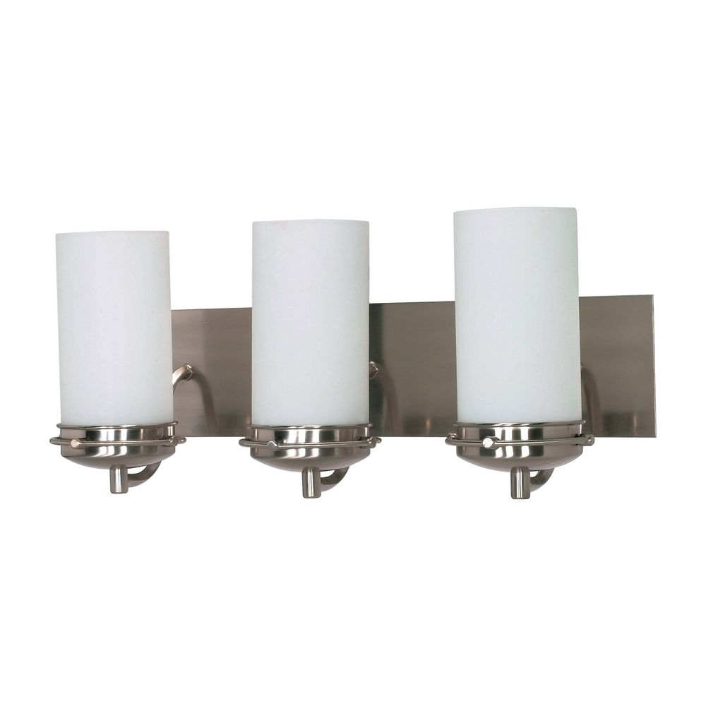Modern Bathroom Light With White Glass In Brushed Nickel Finish 60 613 Destination Lighting