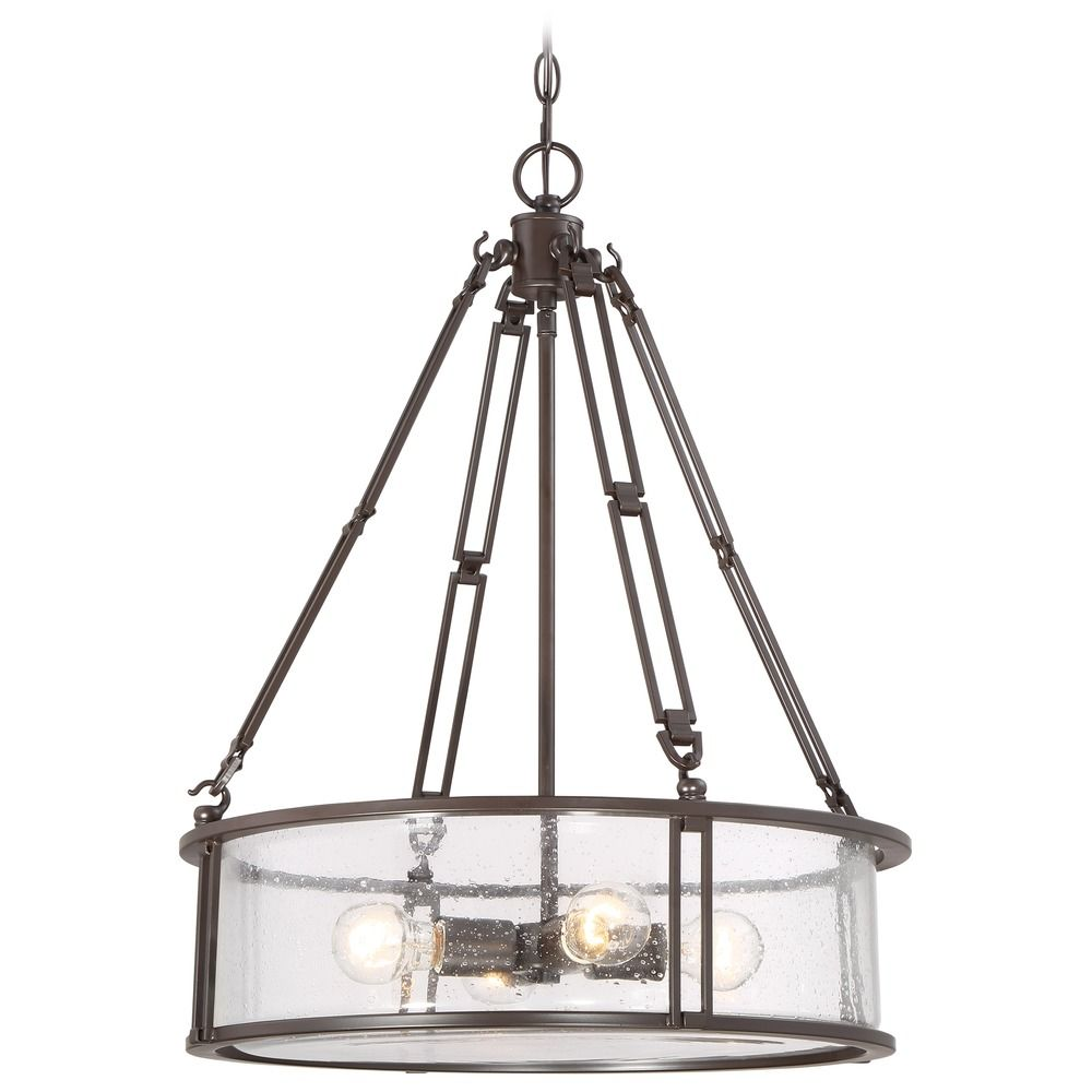 Seeded Glass Drum Pendant Light Bronze Quoizel Lighting