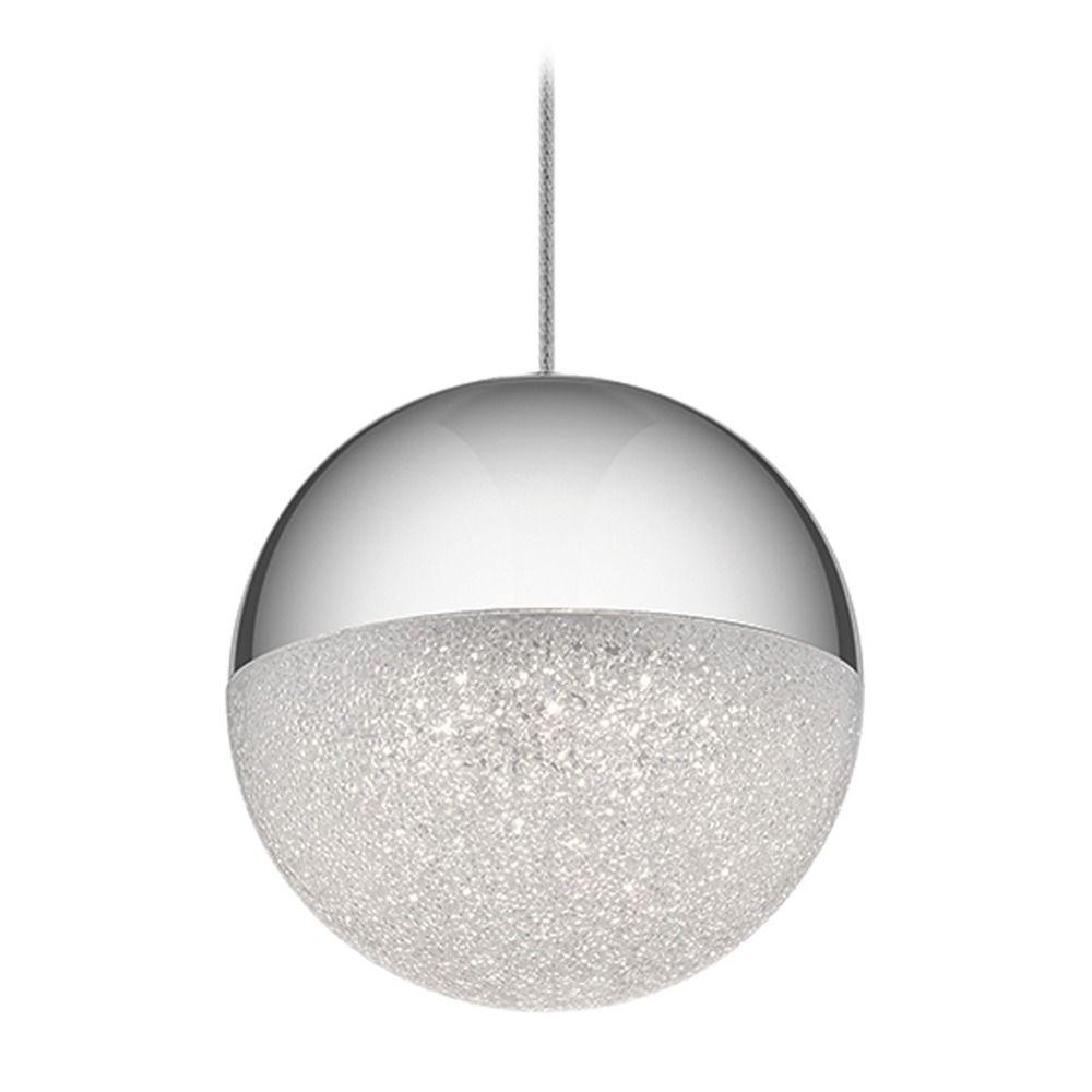 Elan Lighting Moonlit Chrome LED Pendant Light With Globe