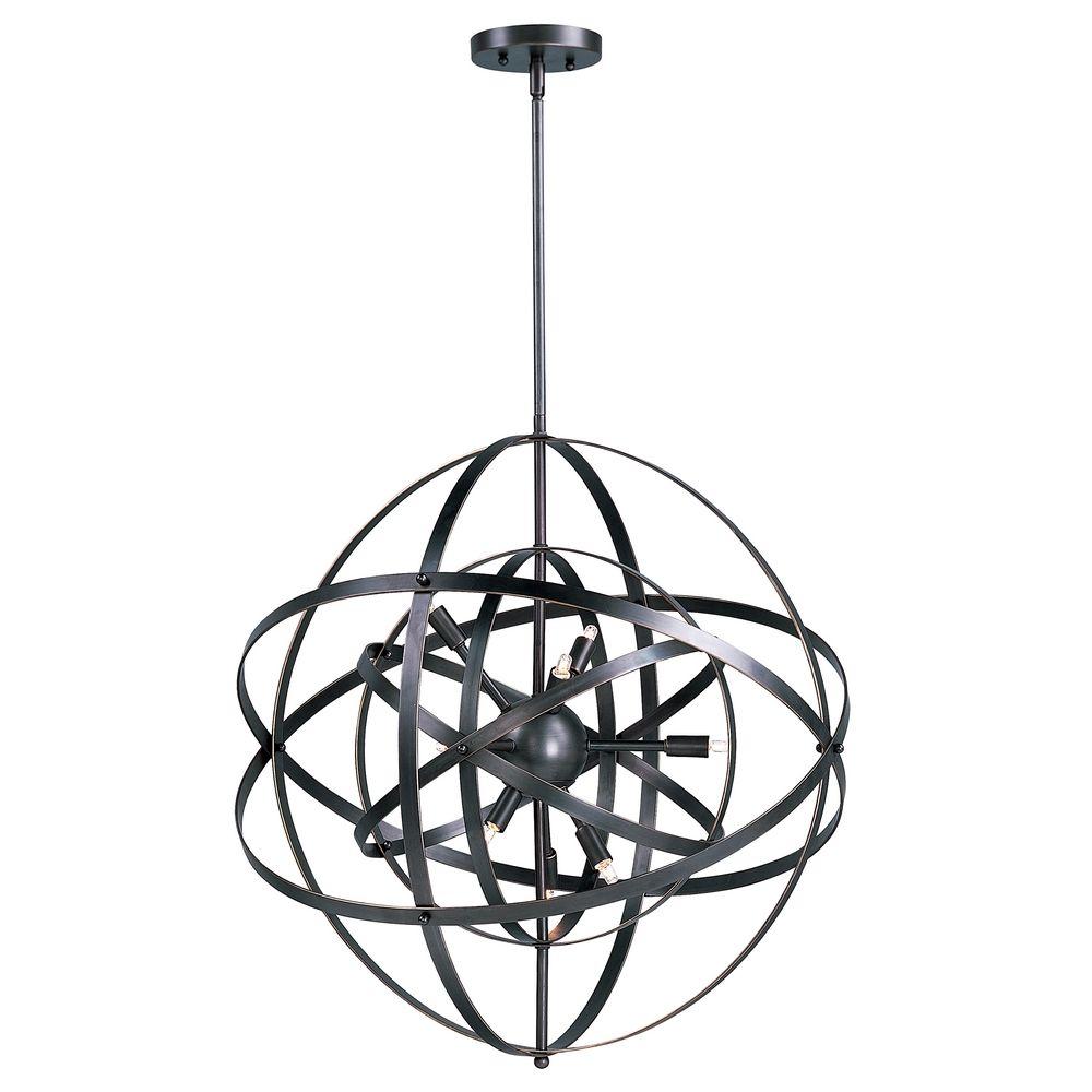 Mid Century Modern Pendant Cluster Light Bronze Sputnik By