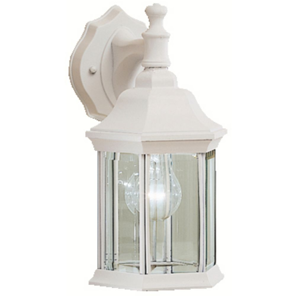 Kichler White Outdoor Wall Light with Clear Glass 9776WH Destination Lighting