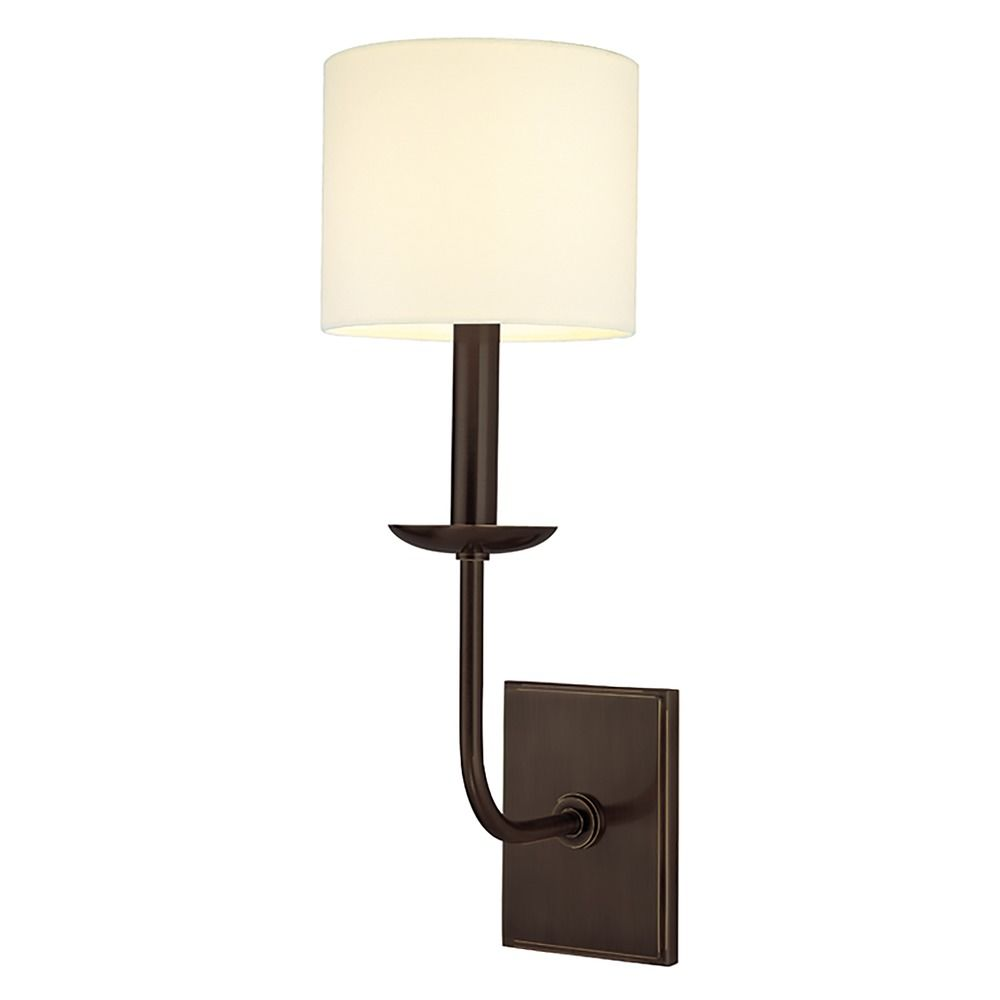 Sconce Wall Light with White Shade in Old Bronze Finish 1711-OB Destination Lighting