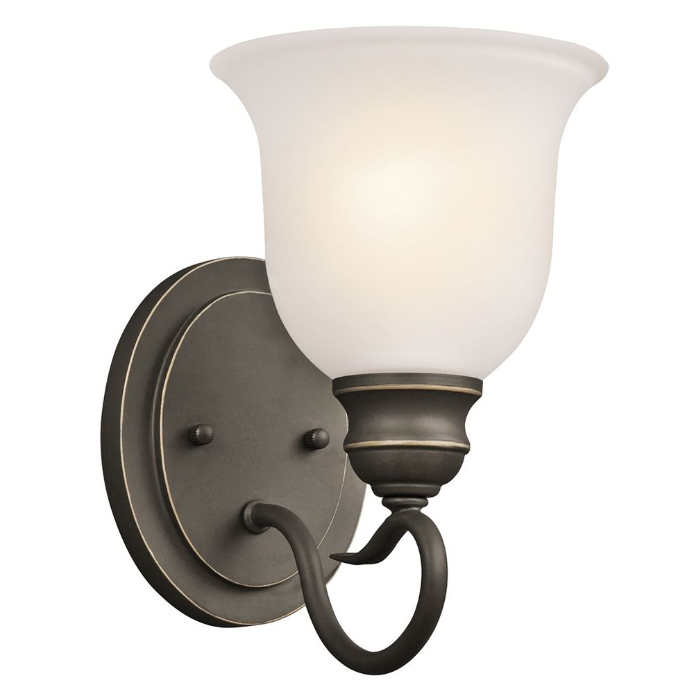Wall Sconce White Glass : Kichler Sconce Wall Light with White Glass in Olde Bronze Finish 45901OZ Destination Lighting