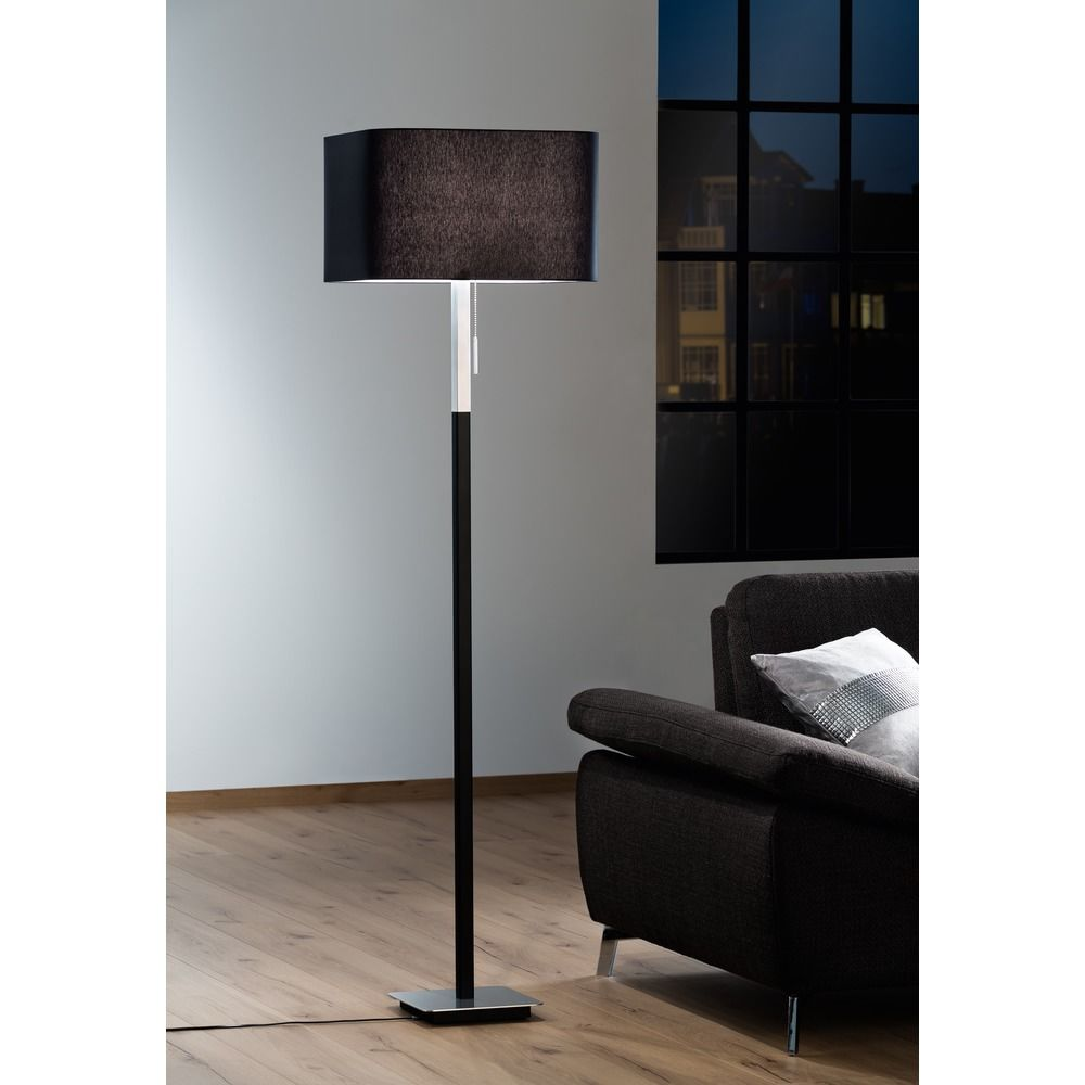 Wurfel Brushed Aluminum Black Floor Lamp With Square Shade