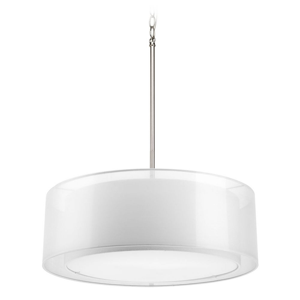 modern drum pendant light with white null shades in