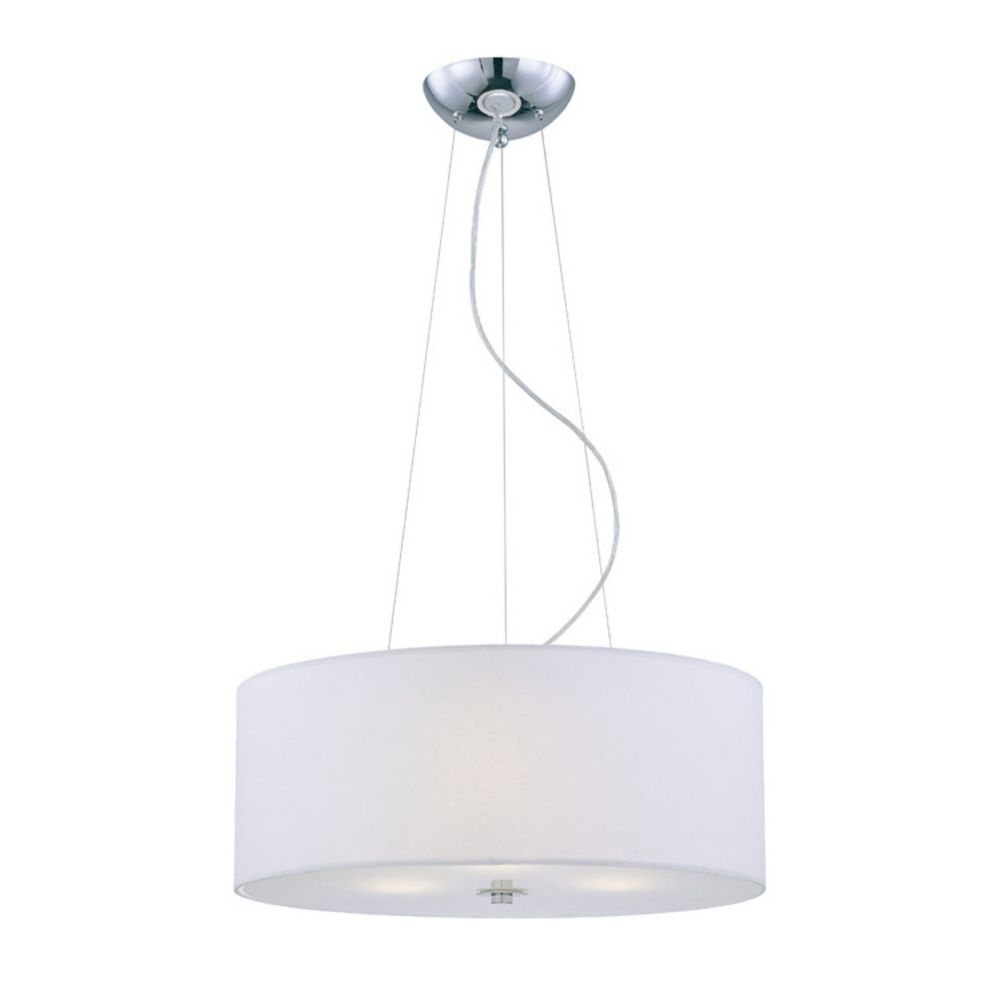 Lite Source Lighting White Drum Shade Pendant Light In Chrome LS 19149.  Hover Or Click To Zoom Amazing Ideas