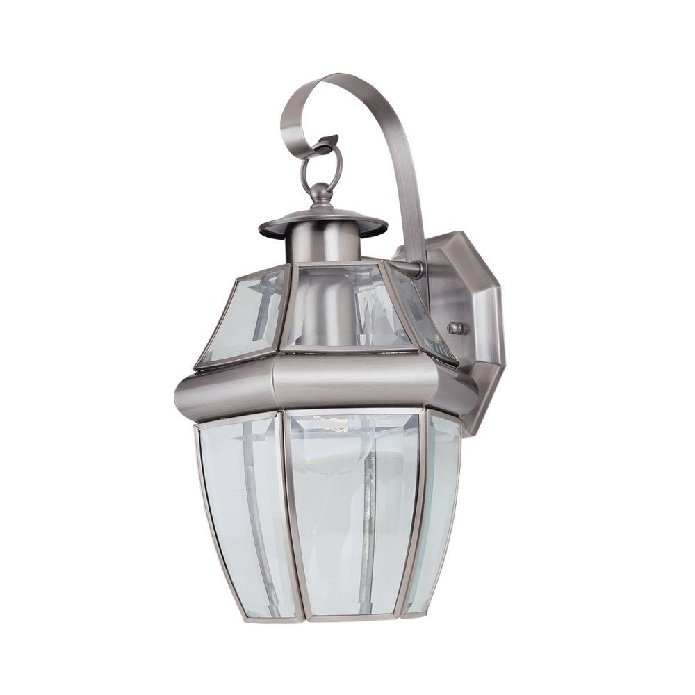 Outdoor Wall Light with Clear Glass in Antique Brushed