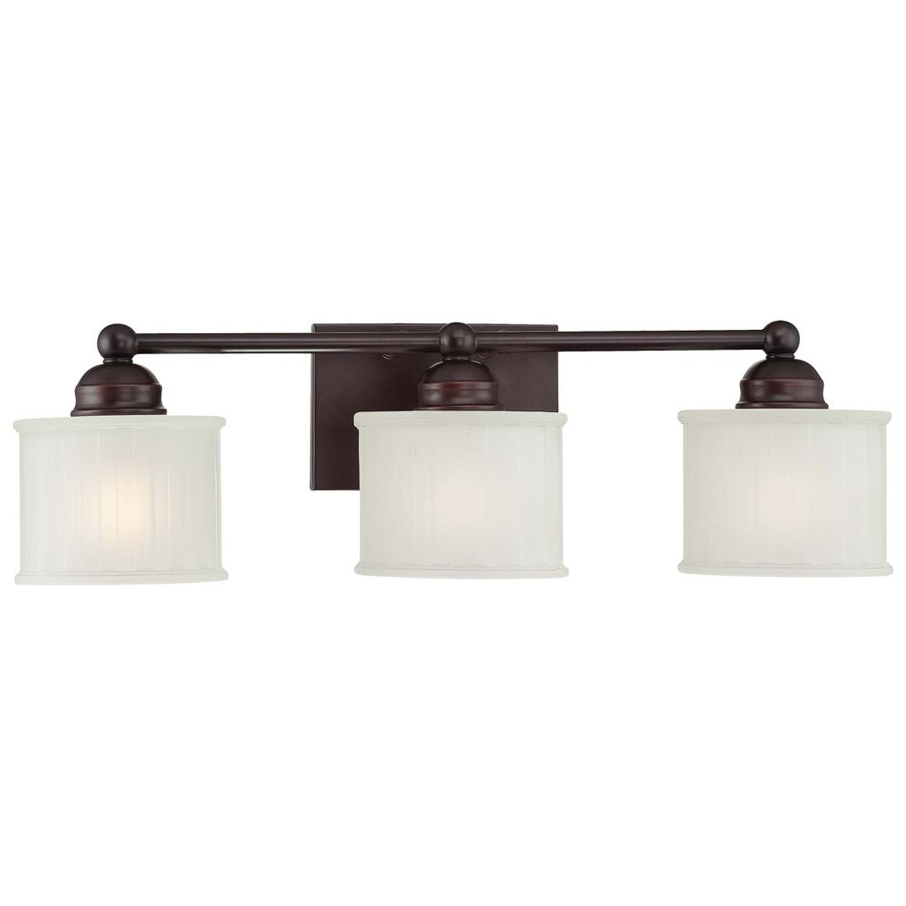 Modern Bathroom Light with White Glass in Lathan Bronze Finish 6733-167 Destination Lighting