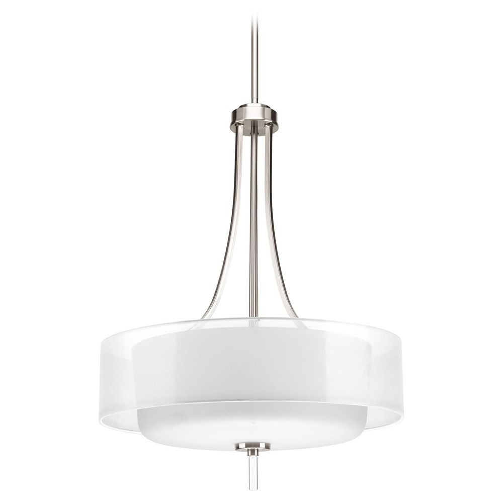 drum pendant light with white glass in brushed nickel. Black Bedroom Furniture Sets. Home Design Ideas