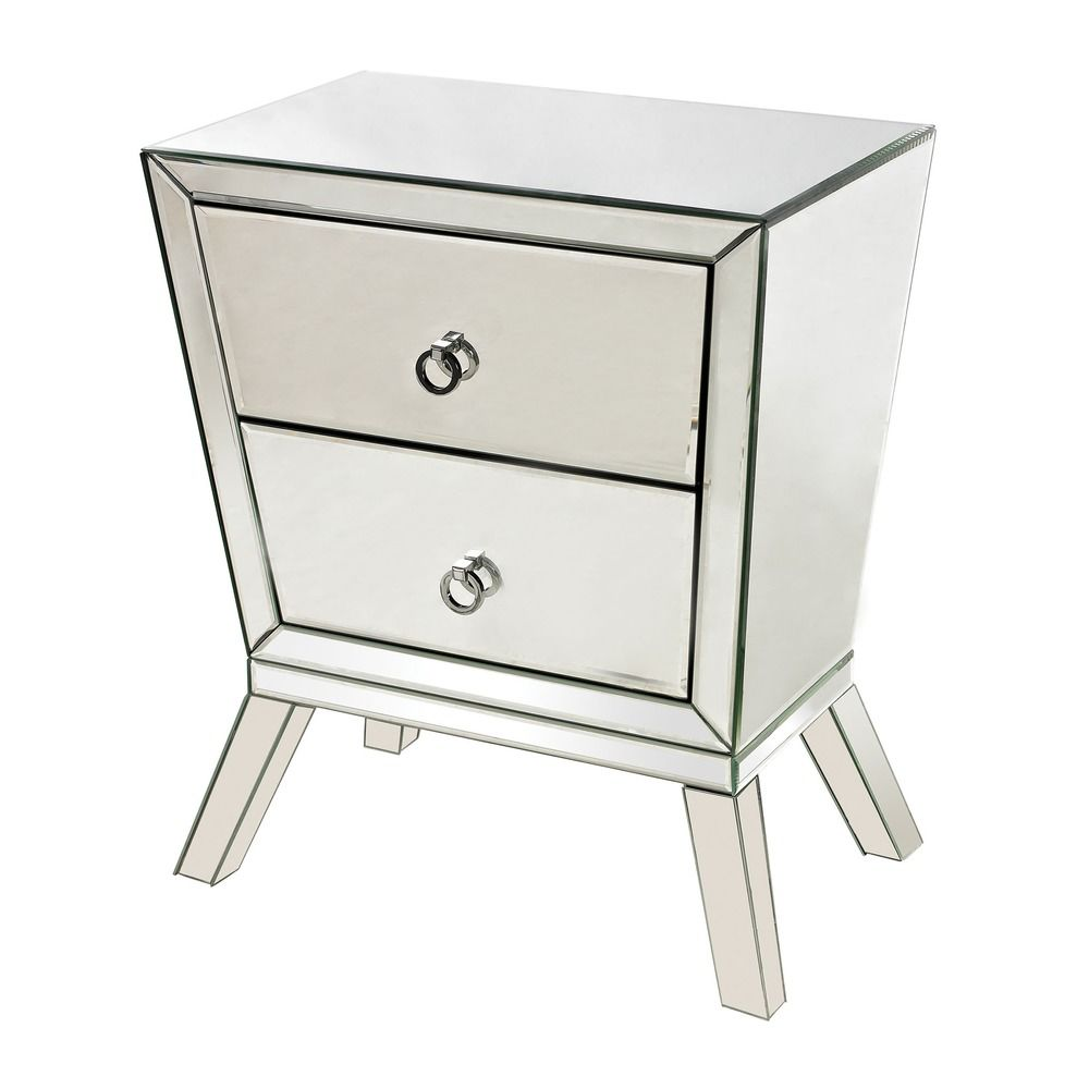 mirrored side cabinet with 2 drawers 114 54