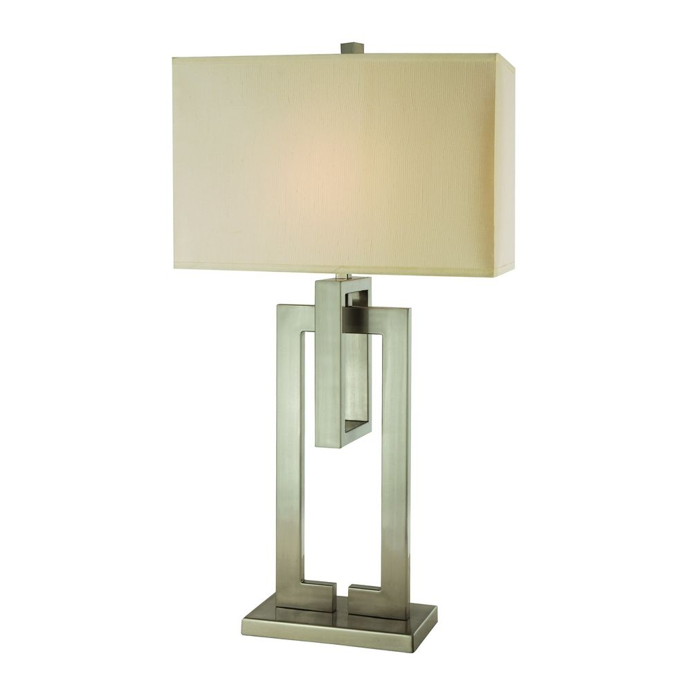 lighting modern table lamp with beige cream shade in brushed nickel. Black Bedroom Furniture Sets. Home Design Ideas