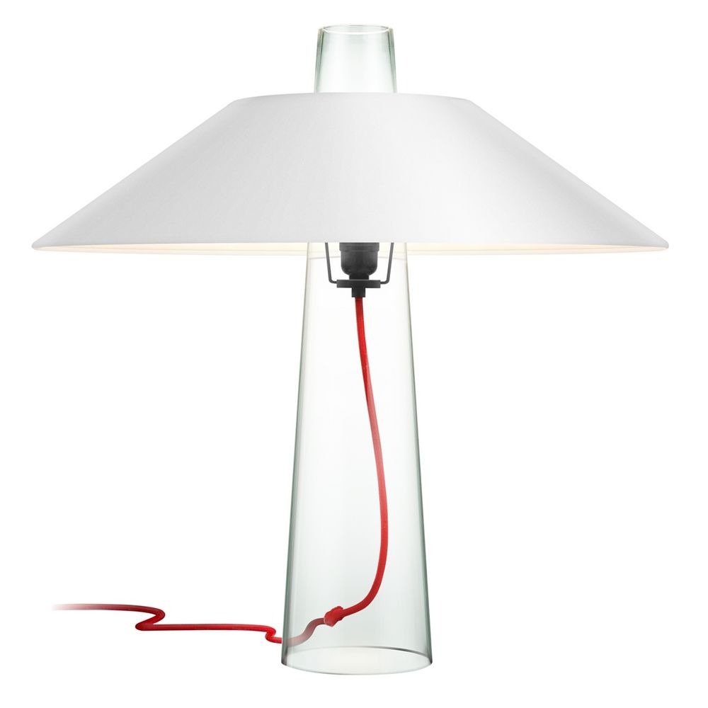 Modern clear glass table lamp with white paper shade and red cord modern clear glass table lamp with white paper shade and red cord aloadofball Gallery