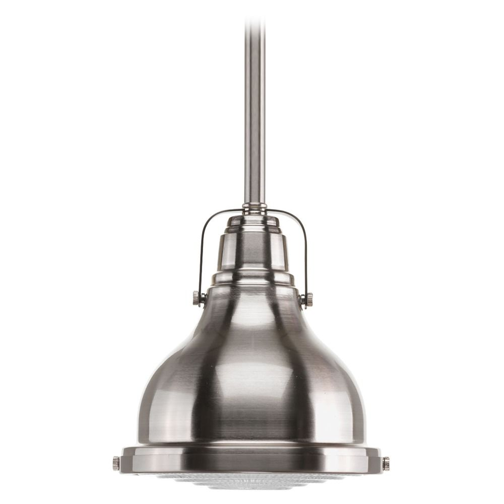 Farmhouse mini pendant light brushed nickel fresnel lens by progress hover or click to zoom aloadofball Choice Image