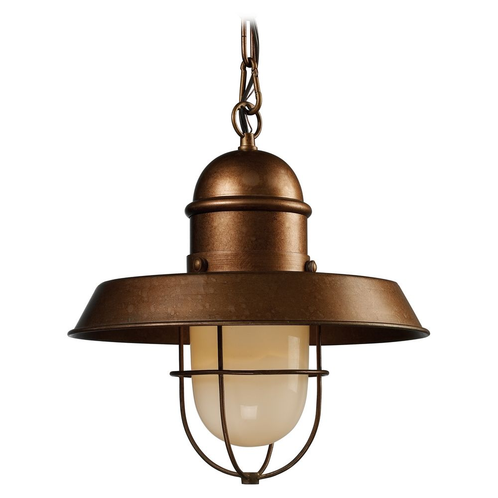 Elk Lighting Nautical Copper Pendant Light With Cage Shade