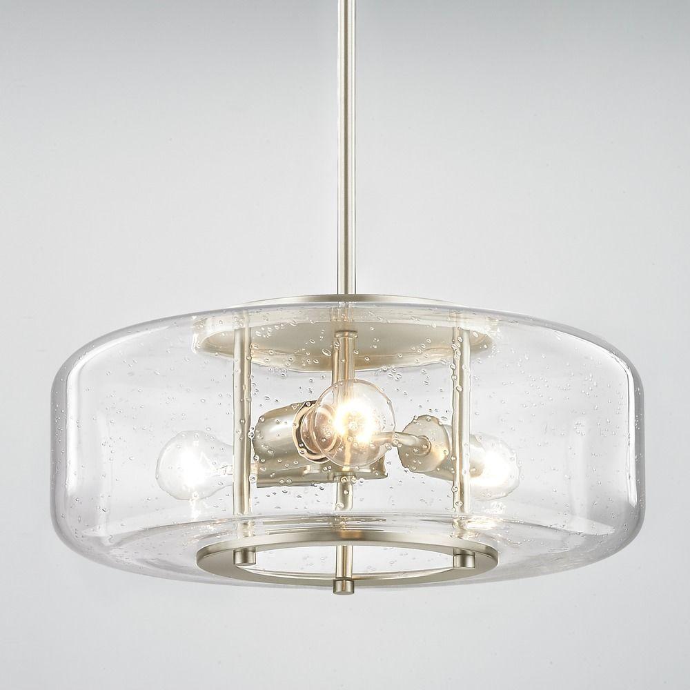 Modern seeded glass pendant light with 3 lights satin nickel finish at destination lighting