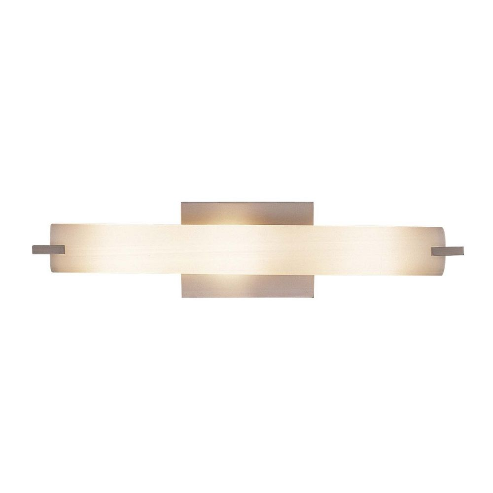 Shown in Brushed Nickel finish  Product Image. Tube Brushed Nickel Bathroom Light   Vertical or Horizontal