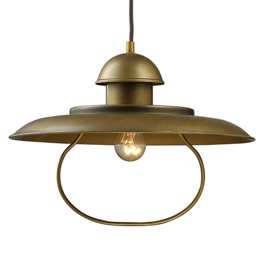 Farmhouse Pulley Pendant Light Antique Brass Finish 1