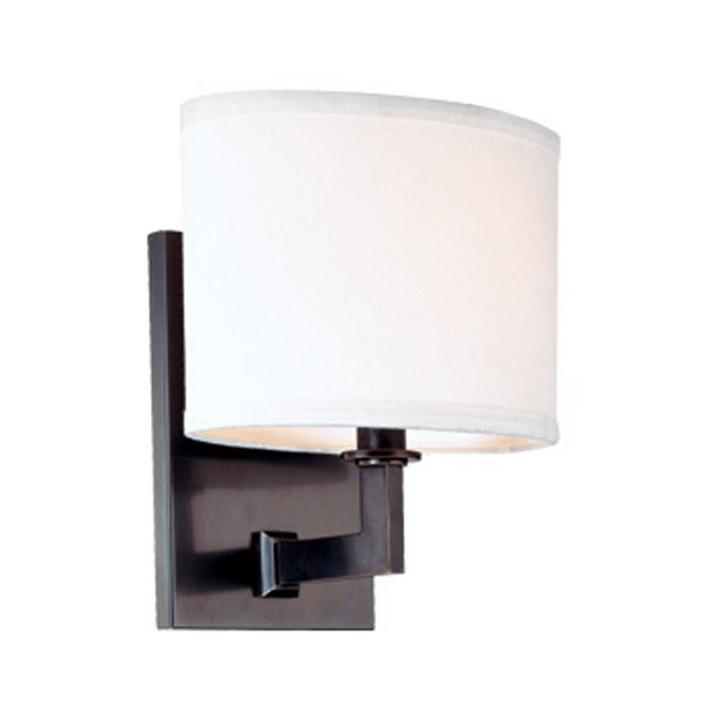 Wall Sconces Bronze Finish : Modern Sconce Wall Light with White Shade in Old Bronze Finish 591-OB Destination Lighting