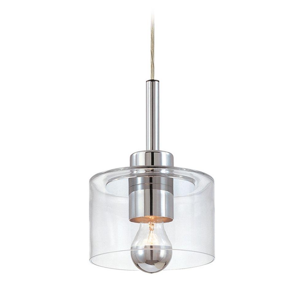 Mid century modern mini pendant light polished chrome for Sonneman lighting