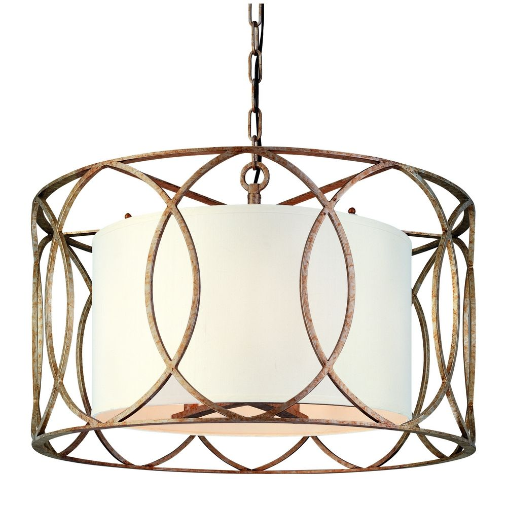 lighting five light wrought iron chandelier with center drum shade